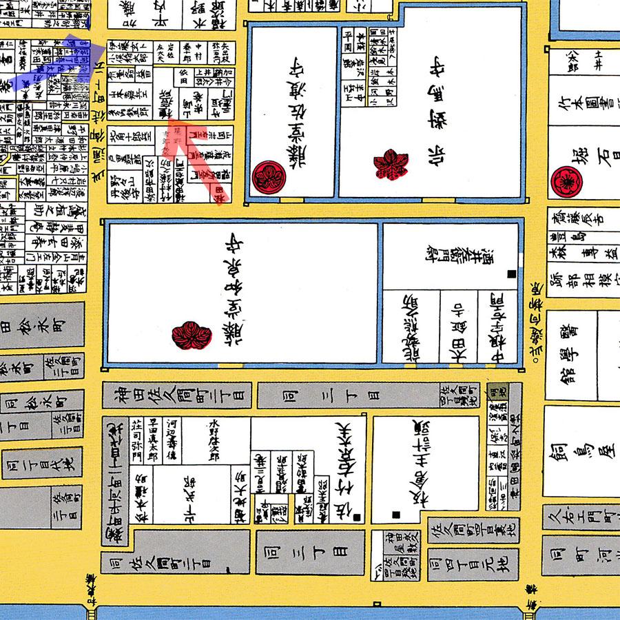 古地図:文久二年(1862年)尾張屋刊東都下谷絵図より伊藤玄朴と種痘所。