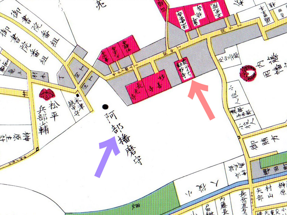 古地図:文久元年(1861年)尾張屋刊東都麻布絵図より