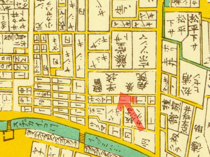 古地図:明治2年(1869年)東京全図より医学校兼病院。