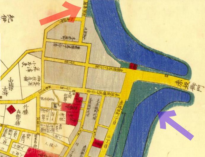 安政四年(1857年)今井谷六本木赤坂繪圖より