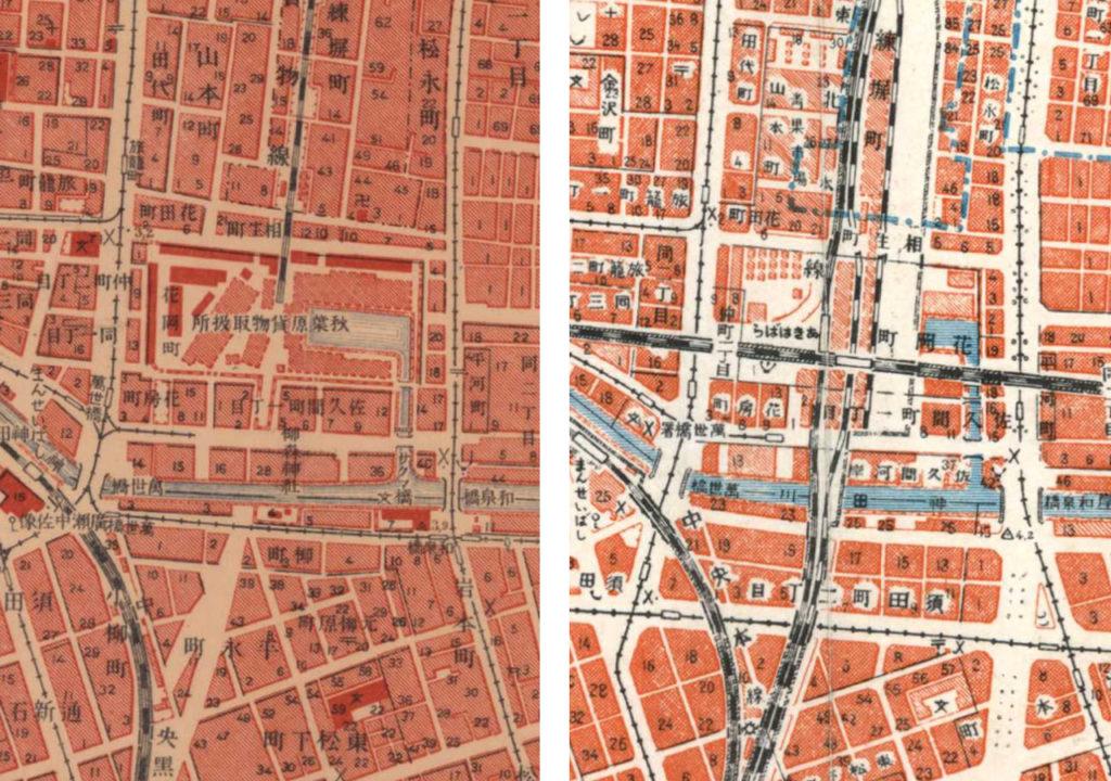 左:大正5-10年(1917-21年)陸地測量部2万5千分の1地形図より右:昭和3-11年(1928-36年)1万分の1地形図より