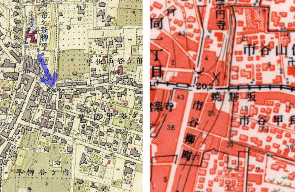 左:明治9-17年(1876-84年)5千分の1東京図測量原図、右:古地図:昭和30-35年(1955-60年)1万分の1地形図
