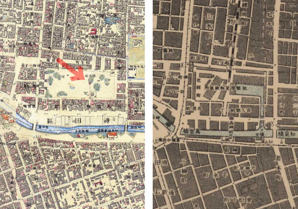 左:明治9-17年(1876-84年)5千分の1東京図測量原図より右:明治41-42年(1908-09年)1万分の1測図より