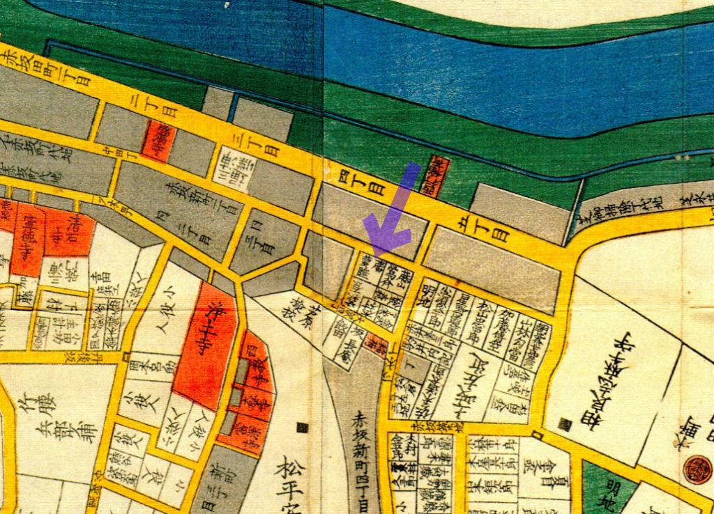 古地図:嘉永三年(1850年)尾張屋刊今井谷六本木赤坂絵図より「勝夢睡」。