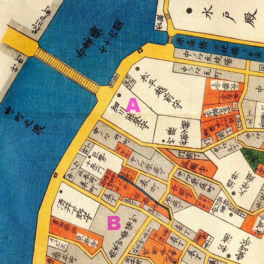 古地図:嘉永五年(1852年)尾張屋刊本所絵図より細川のお屋敷(A)本所達磨横丁(B)は正式地名ではなく通称。古地図の番場町辺り、現在の本所1丁目。