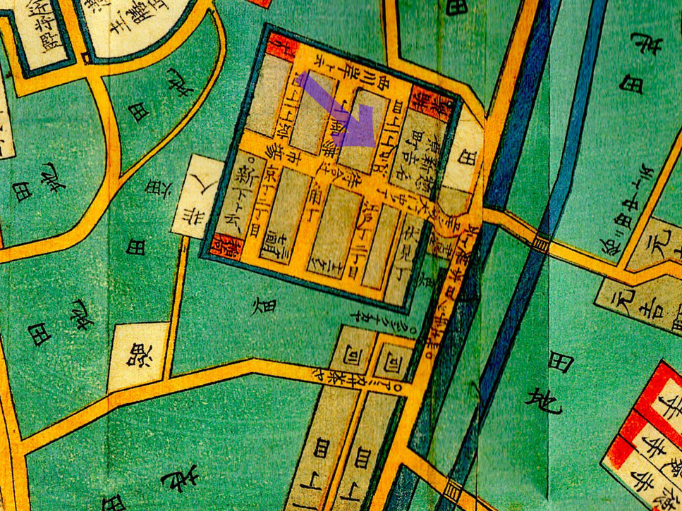古地図:嘉永六年(1853年)尾張屋刊今戸箕輪浅草絵図より吉原。青矢印が佐野槌があった辺り