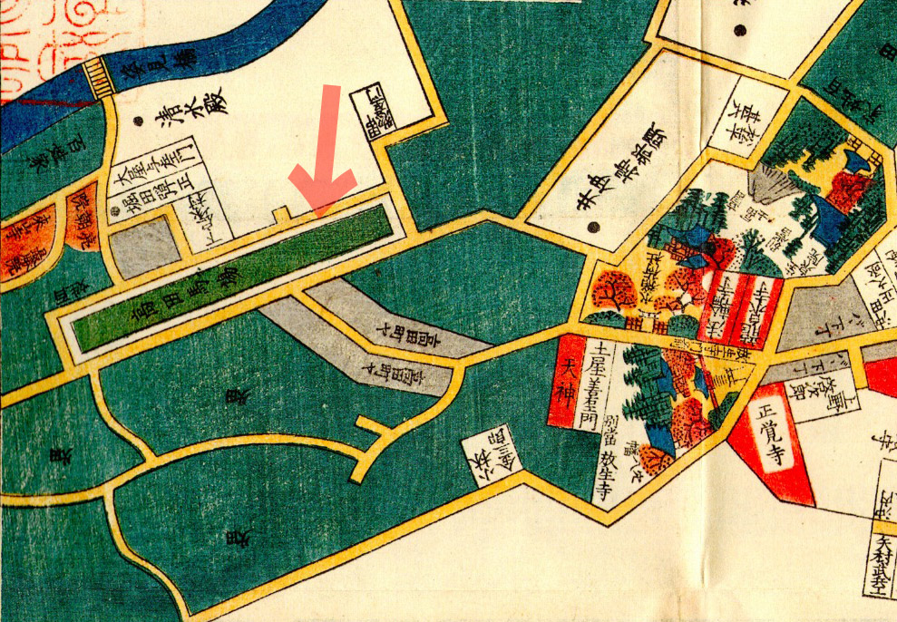 古地図:嘉永七年(1854年)牛込市ヶ谷大久保絵図より高田の馬場の茶屋通り