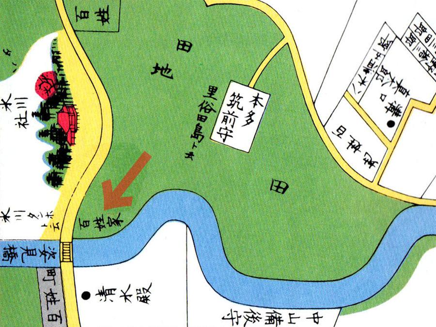 古地図:嘉永七年(1854年)牛込市ヶ谷大久保絵図より