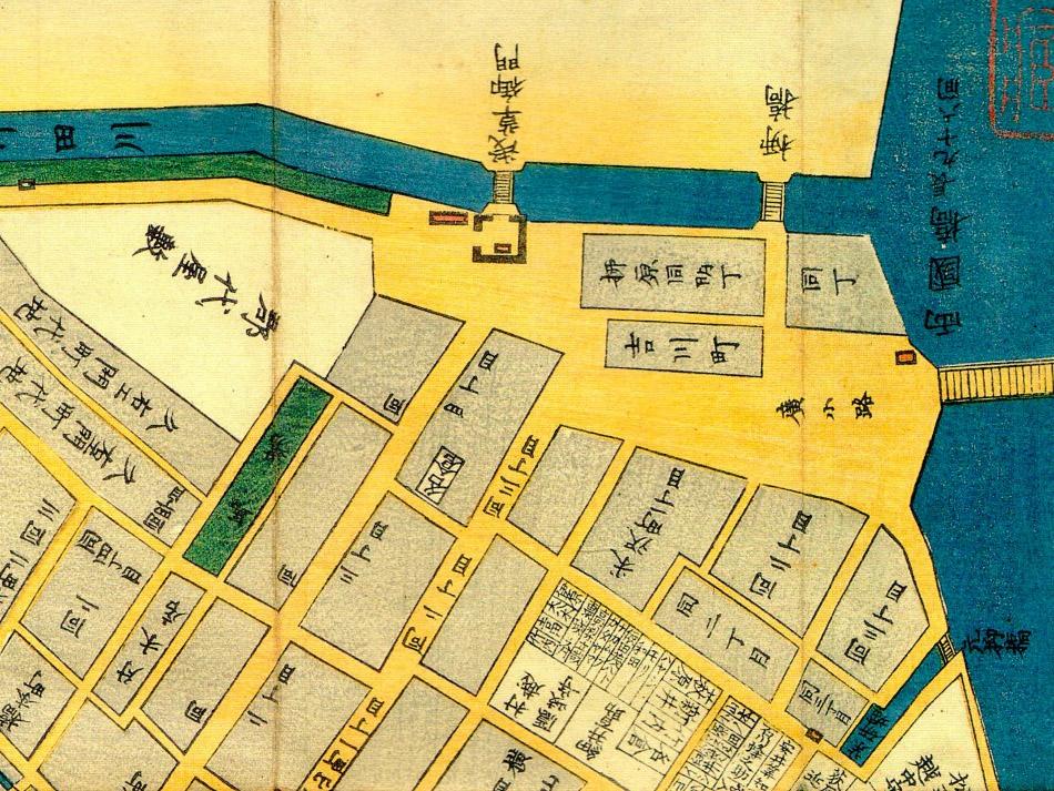 古地図:嘉永三年(1850年)日本橋北内神田両国浜町絵図より両国橋の広小路