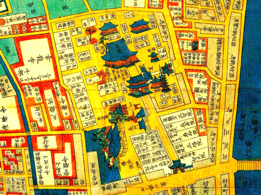 古地図:嘉永六年(1853年)尾張屋刊今戸箕輪浅草絵図より浅草寺