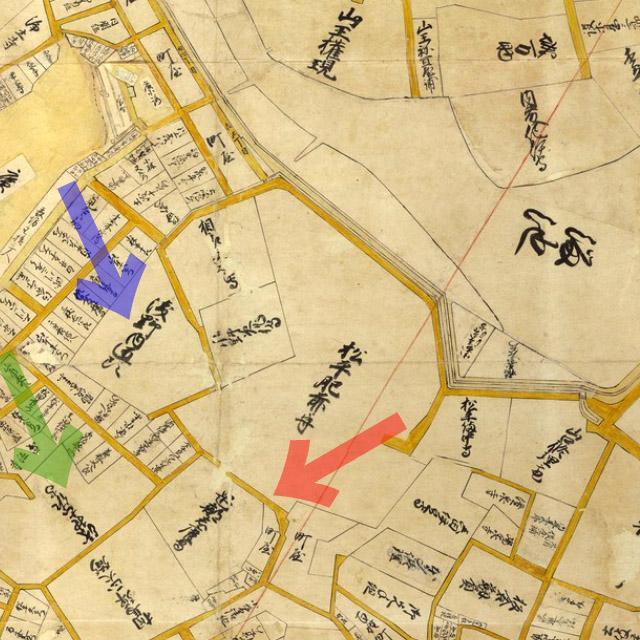 古地図:元禄年間(1688-1703年)江戸大絵図より南部坂、浅野内匠頭、浅野土佐守