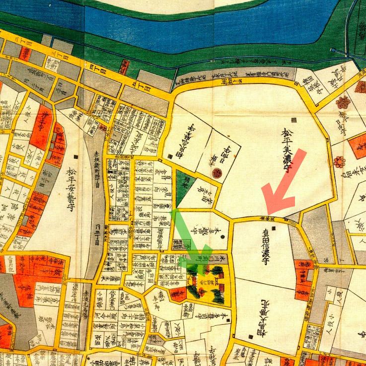 古地図:嘉永三年(1850年)今井谷六本木赤坂絵図より南部坂、赤坂氷川神社