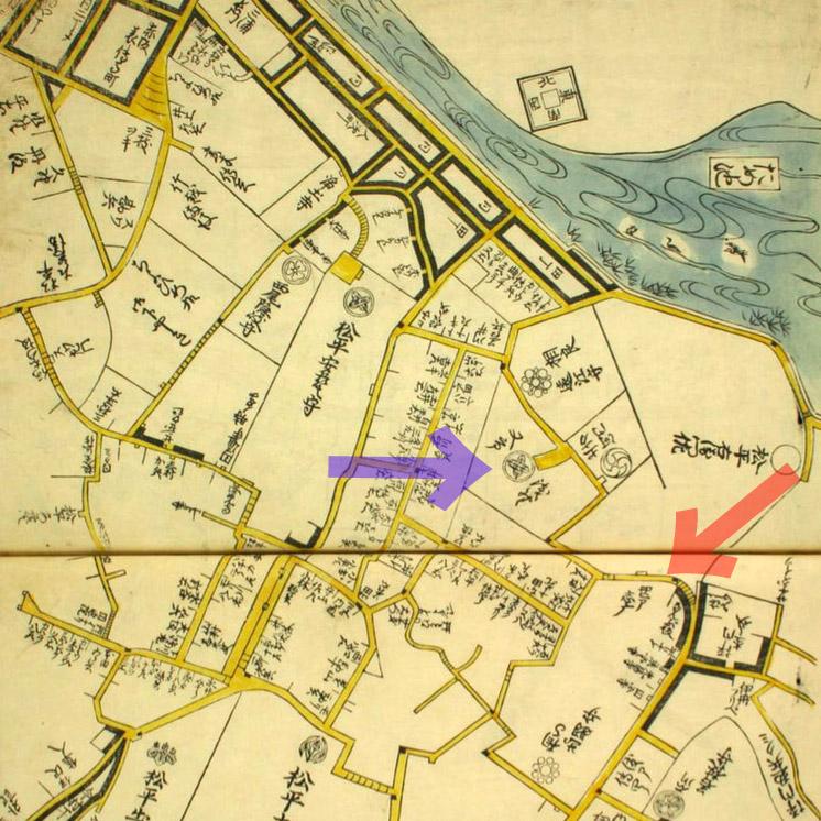 古地図:延寳八年(1680年)表紙屋江戸方角安見図鑑より南部坂、浅野又市。