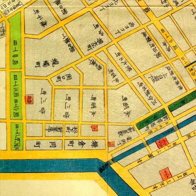 嘉永三年(1850年)日本橋北内神田両国浜町絵図より神田三河町