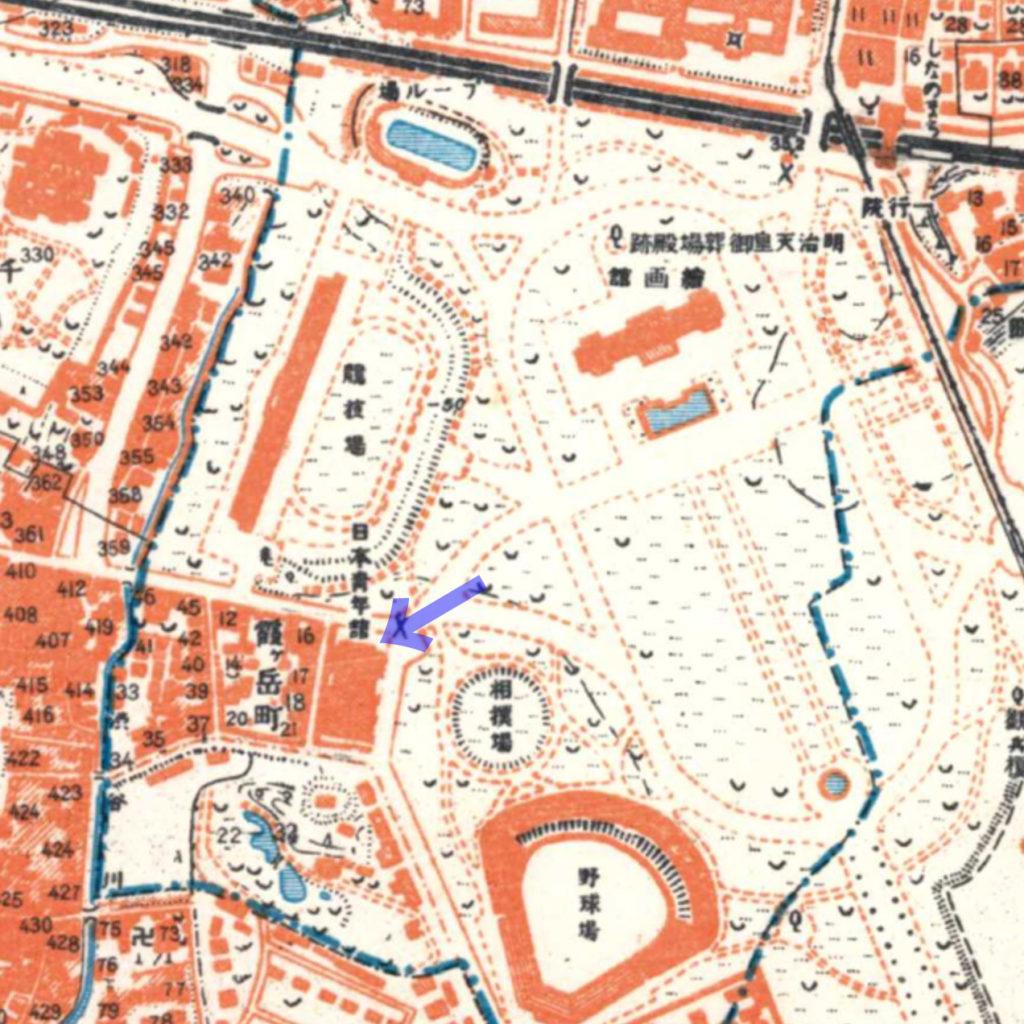 古地図:昭和3-11年(1928-36年)1万分の1地形図より日本青年館。すぐ北側に国立競技場。