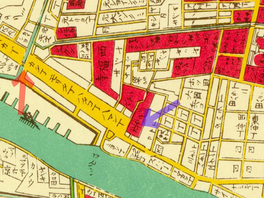 明治二年(1869年)東京全図より天王橋、榧寺