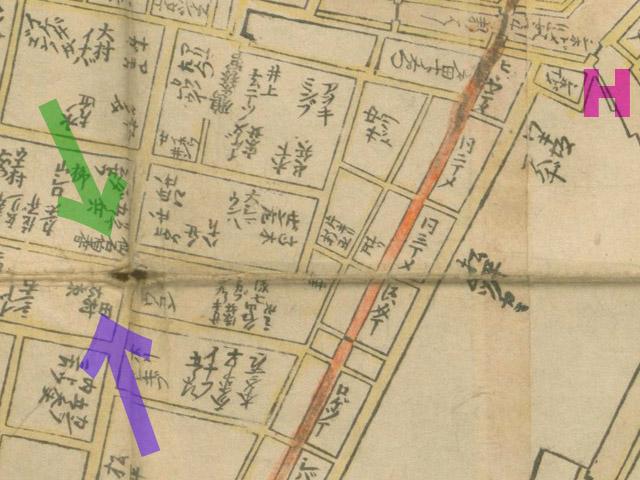 元禄十二年(1699年)江戸大絵図より汐留橋、田村右京太夫、仙石伯耆守(クリックで拡大)。