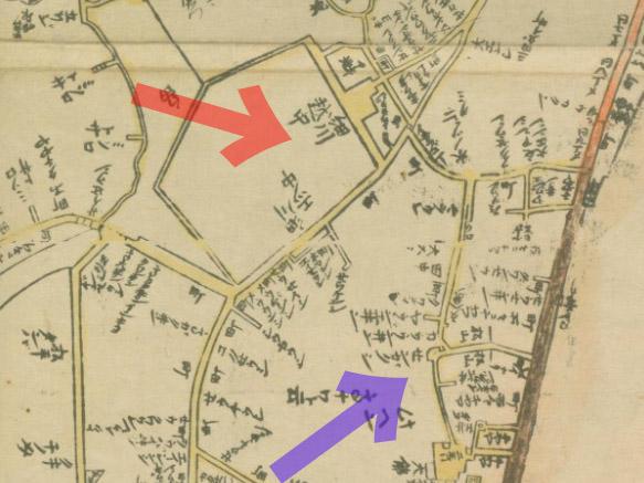 元禄十二年(1699年)江戸大絵図より細川越中守と泉岳寺