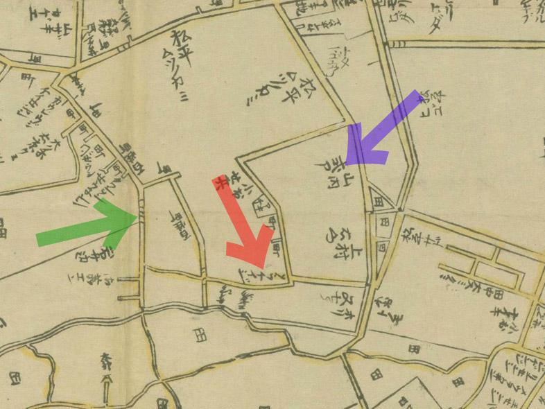 元禄十二年(1699年)江戸大絵図より絶江坂、曹渓寺、山内家