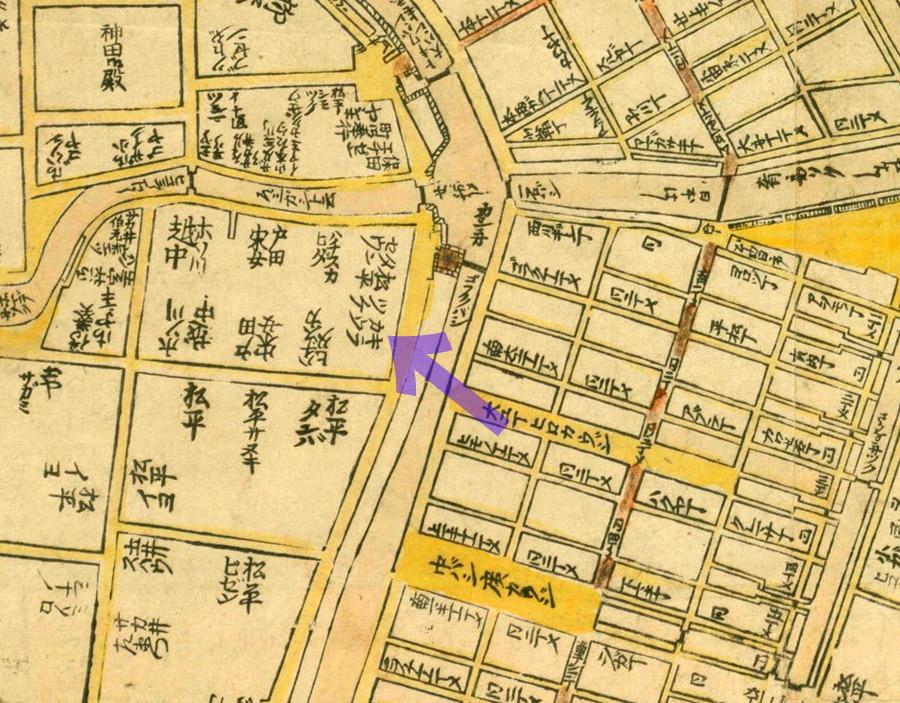 移転前の元禄十二年(1699年)江戸大絵図より呉服橋のキラカウスケ。