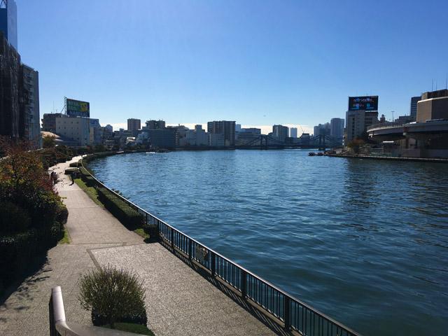 隅田リバーテラスの川沿いの道を歩くことができます。