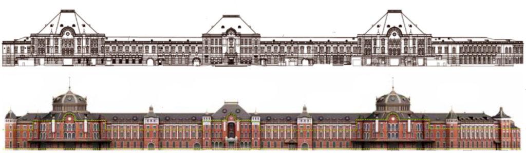 復元前・復元後の東京駅丸の内駅舎