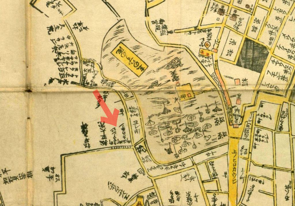 古地図:元禄年間(1688-1703年)江戸大絵図より講安寺、称仰寺