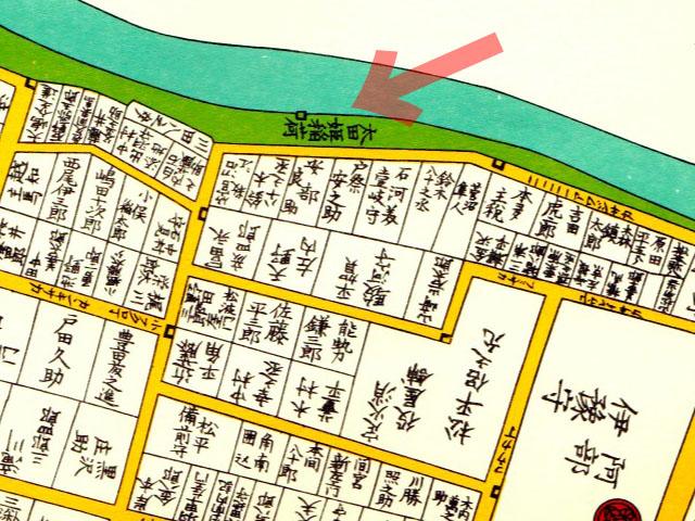 嘉永二年(1849年)尾張屋刊飯田町駿河台小川町絵図より太田姫稲荷