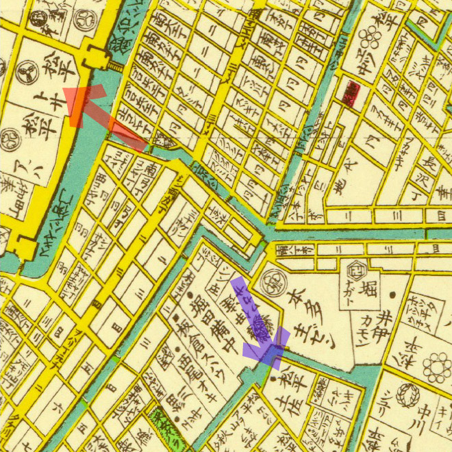 安政六年(1859年)安政江戸図より土佐藩上屋敷と中屋敷。