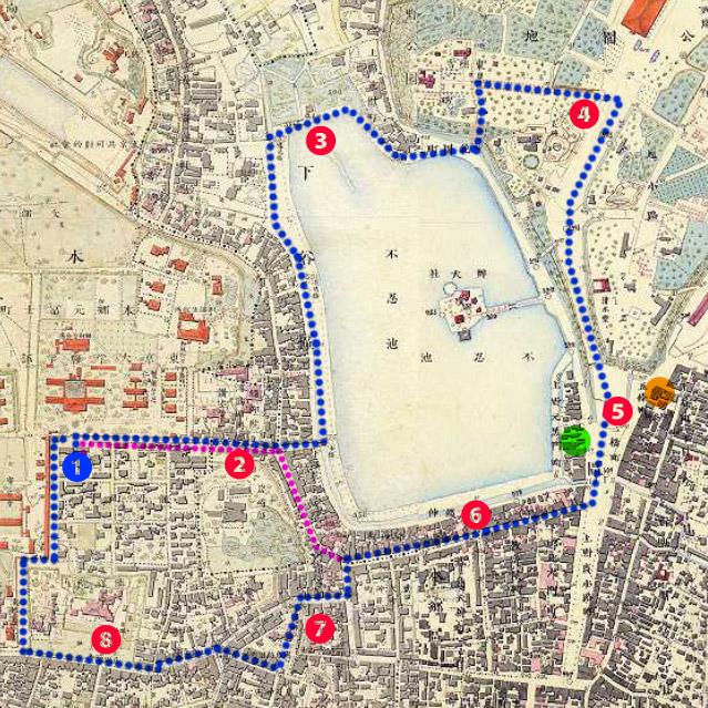 古地図:明治9-17年(1876-84年)5千分の1東京図測量原図より岡田の散歩コース