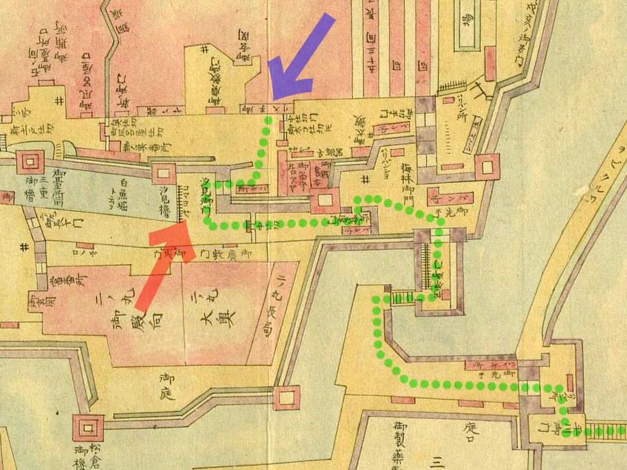 江戸城内図・平川門から汐見坂、御広敷向まで。