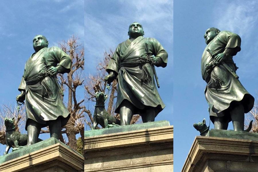 西郷隆盛像を下から見る