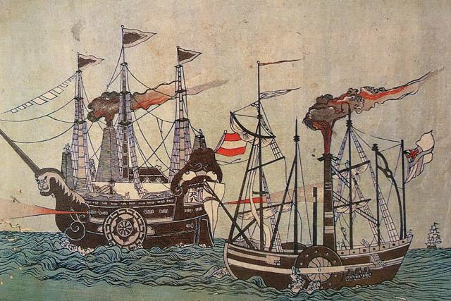 左がペリーの乗船するサスケハナ号、右がミシシッピー号。