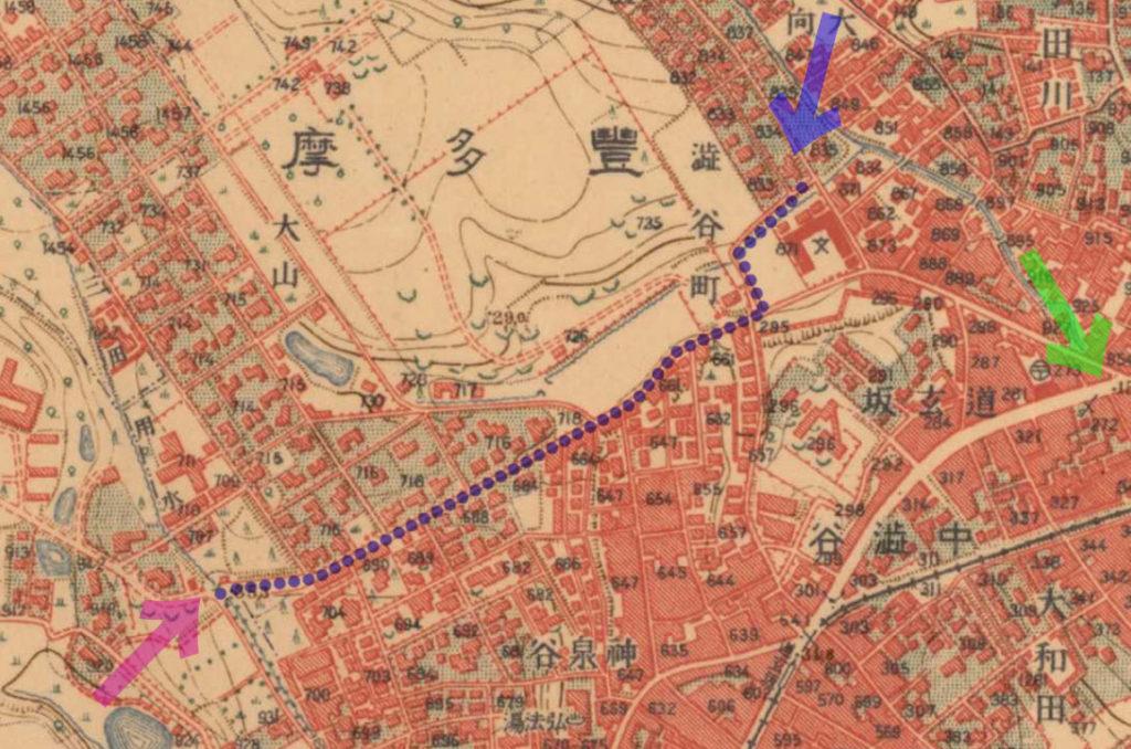 古地図:大正5-10年(1917-21年)陸地測量部2万5千分の1地形図より、松濤の家から東京帝国大学農学部正門。緑矢印が109。