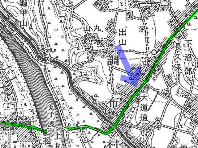 古地図:明治39-42年(1906-09年)2万分の1正式図測図より青矢印が沼部の大坂の位置。
