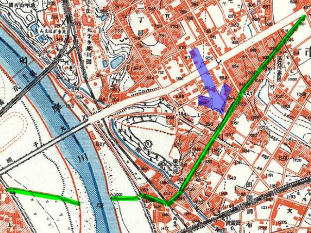 古地図:昭和3-11年(1928-36年)1万分の1地形図より旧中原街道、青矢印が桜坂の位置。