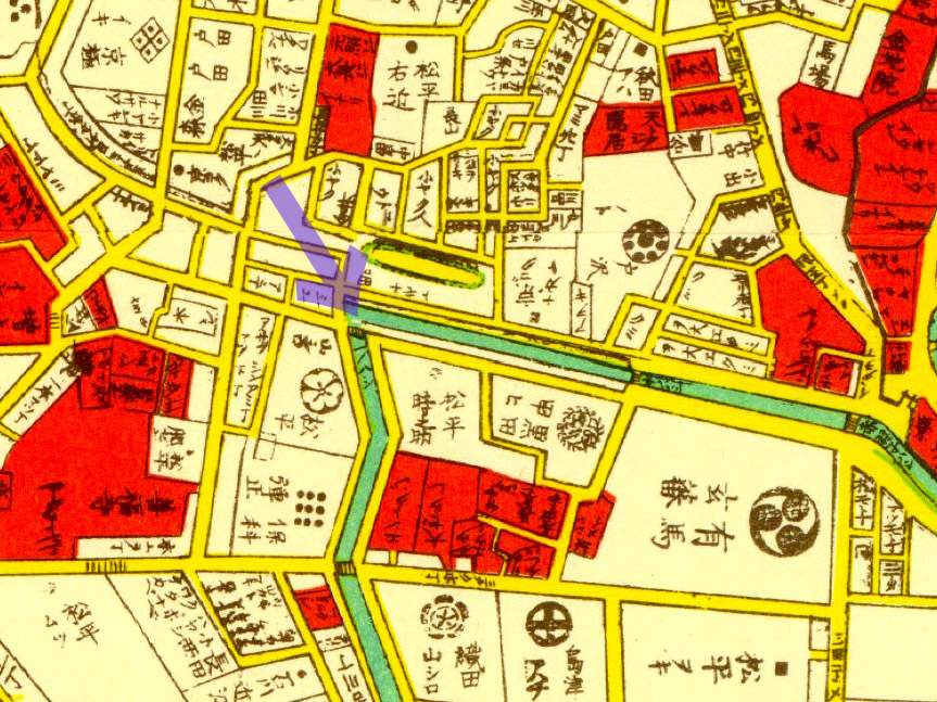 古地図:萬延江戸図(1860年)より一ノ橋
