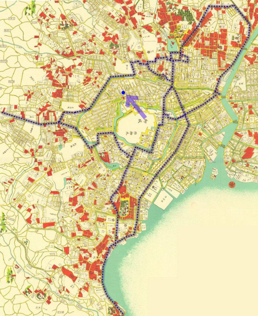 古地図:萬延江戸図(1860年)より巡回ルート。