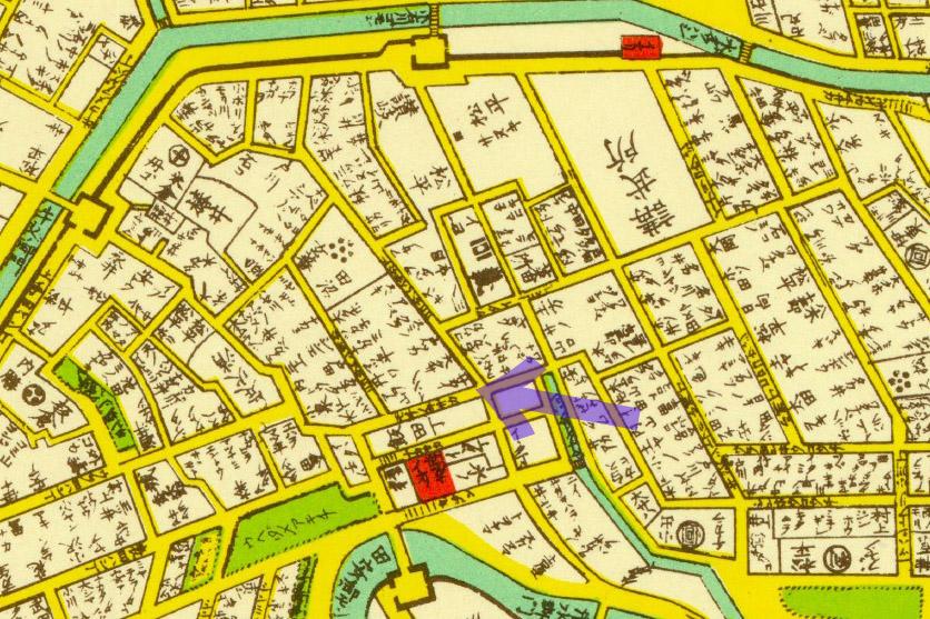 古地図:萬延江戸図(1860年)より酒井家とモチノキ坂。