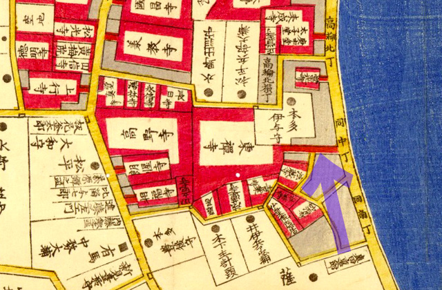 安政四年(1857年)芝三田二本榎高輪邉繪圖より東禅寺参道。