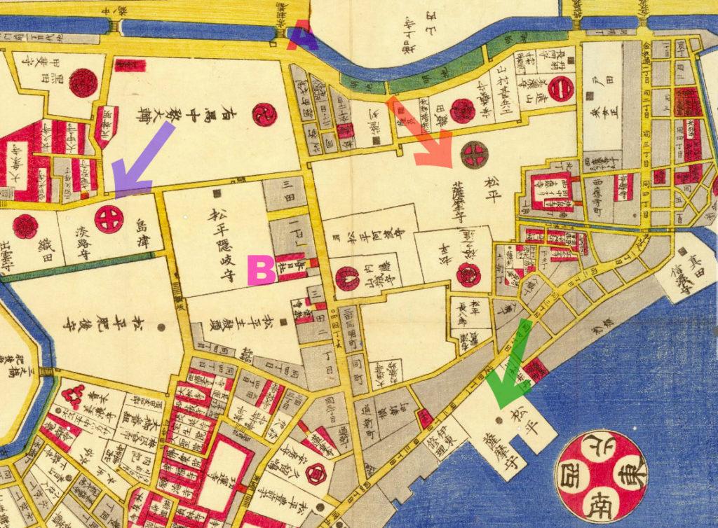 古地図:安政四年(1857年)芝三田二本榎高輪邉繪圖よりA:赤羽橋、B:春日神社。