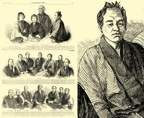 1853年1月22日付のイラストレイテッドニュースに掲載された栄力丸漂流民十七人と「EWATHO」と紹介されている伝吉。