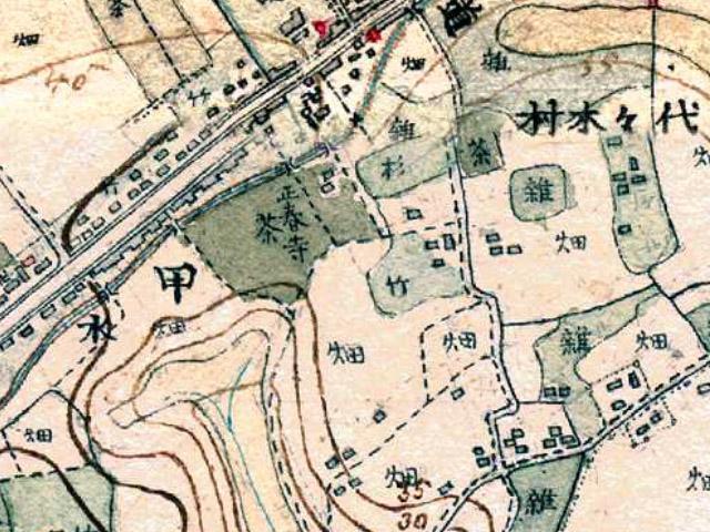 古地図:明治13-19年(1880-86年)2万分の1迅速測図原図より代々木村
