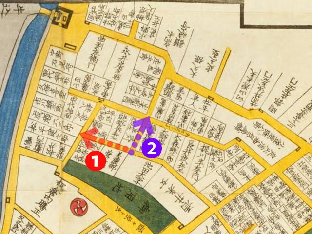 文久二年(1862)東都番町大絵図より幽霊坂❶と❷