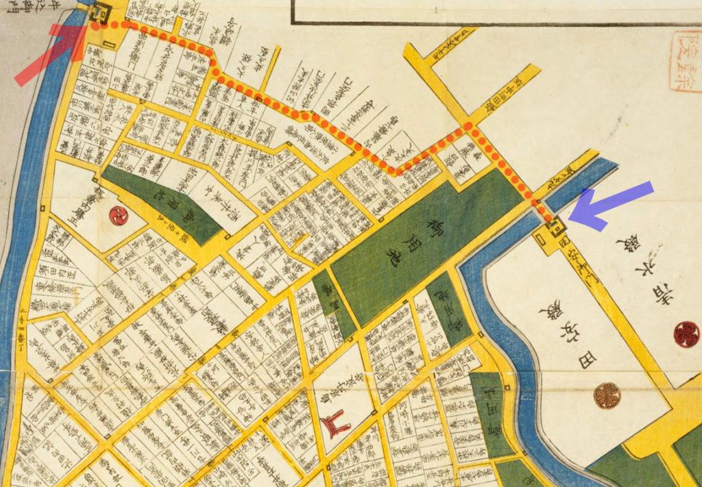 文久二年(1862)東都番町大絵図より外堀の牛込御門と江戸城北の丸の田安門