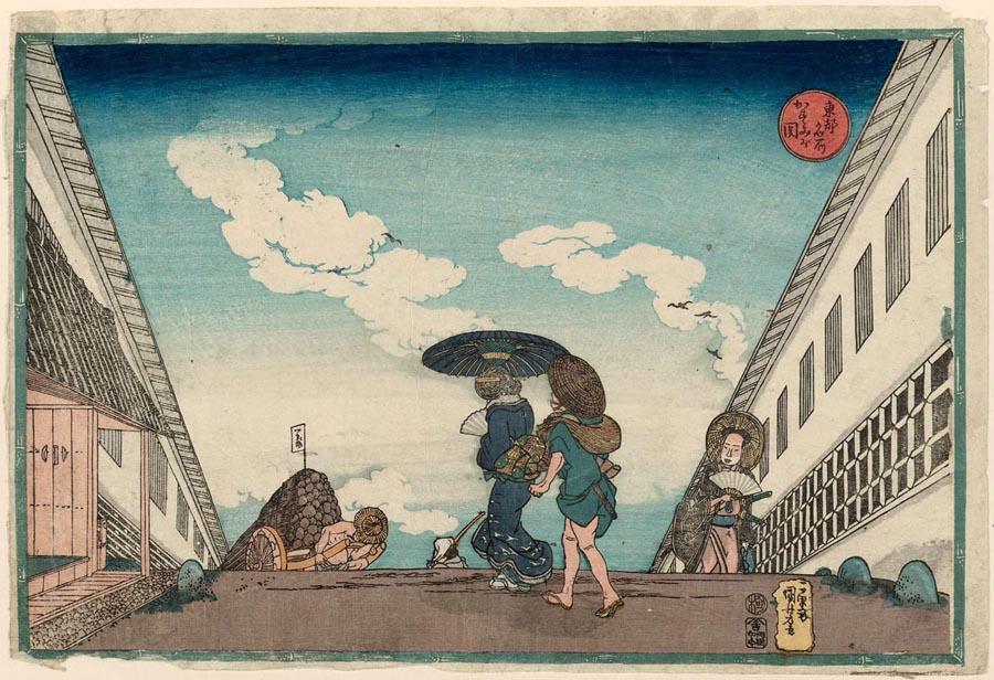歌川国芳画「東都名所霞ヶ関」