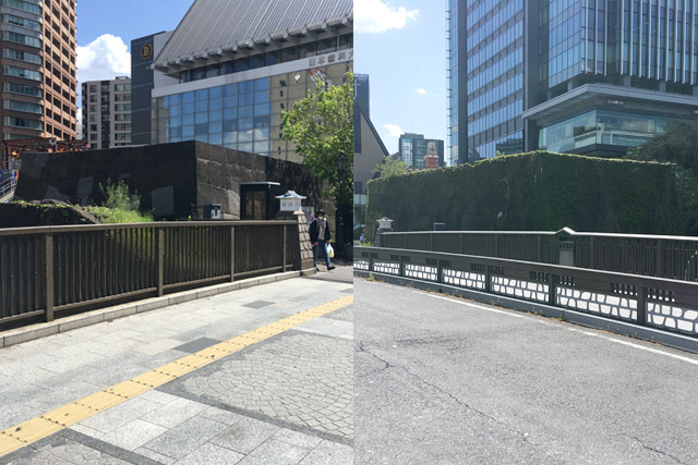 JR飯田橋駅神楽坂口の牛込御門遺構。
