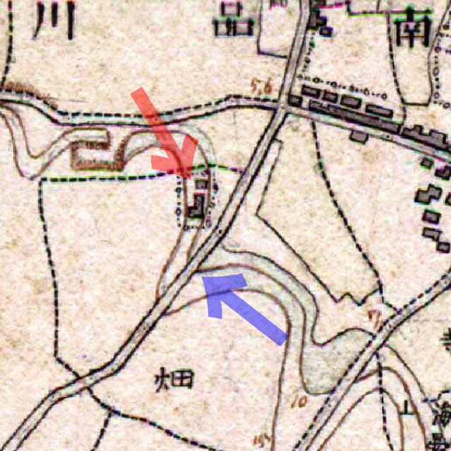 古地図:明治13-19年(1880-86年)第一軍管地方2万分の1迅速測図原図よりゼームス邸と浅間坂。