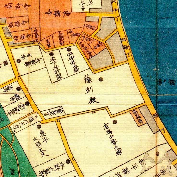古地図:嘉永三年(1850年)高輪辺絵図より