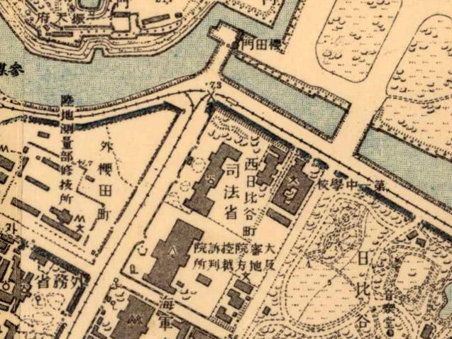 古地図:明治39-42年(1906-09年)2万分の1正式図測図より司法省